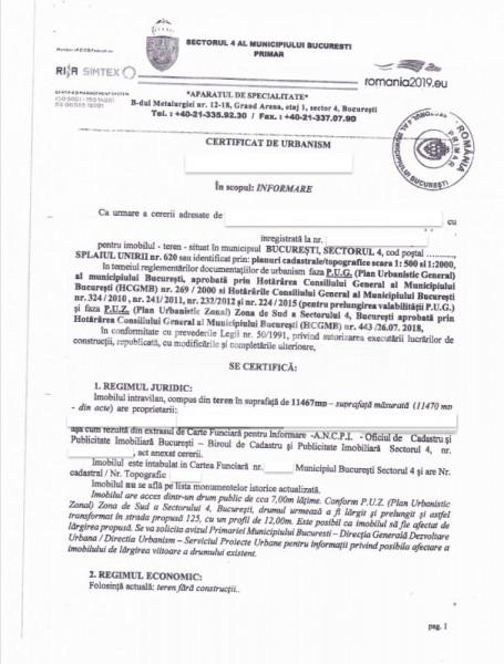 REALA INVESTITIE - 11470MP INTRAVILAN COSTRUIBIL SPLAIUL UNIRII - GRIGORESCU