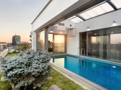 Apus de Soare din Terasa propriului Penthouse exclusivist cu piscina Primaverii